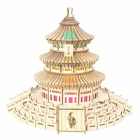 Temple of Heaven Bluetooth music atmosphere night light Kids toys 3D Puzzle Wooden Puzzle Educational toys for Children