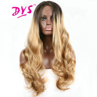 Deyngs 26-32inch Ombre Blonde Lace Front Wigs Long Body Wave Hair For Black Women Synthetic Lace Hairstyle With Natural Hairline