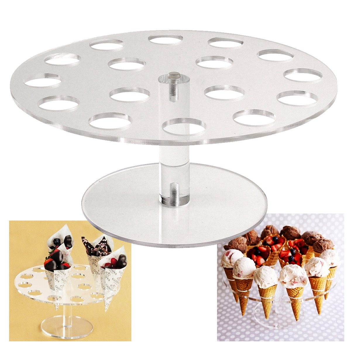 Ice Cream Cone Holder Cake Stand 16 Holds Weeding Party Buffet Display Shelf 250mm Kitchen Dining Bar Bakeware Stands