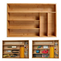 Bamboo Drawer Organizer Multi Use Storage Box Kitchen Accessories Bamboo Adjustable Utensil Drawers Cutlery Tray Storage Holders