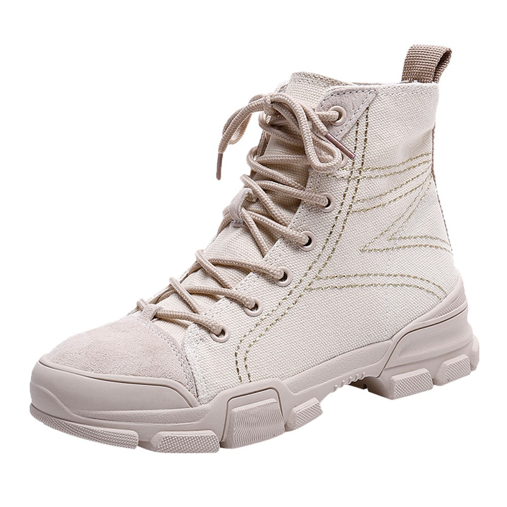 NEW Women British Style Lace-up Martin Boots Women Canvas Flat Versatile Motorcycle Boots High quality Womens BootNEW Women British Style Lace-up Martin Boots Women Canvas Flat Versatile Motorcycle Boots High quality Womens Boot