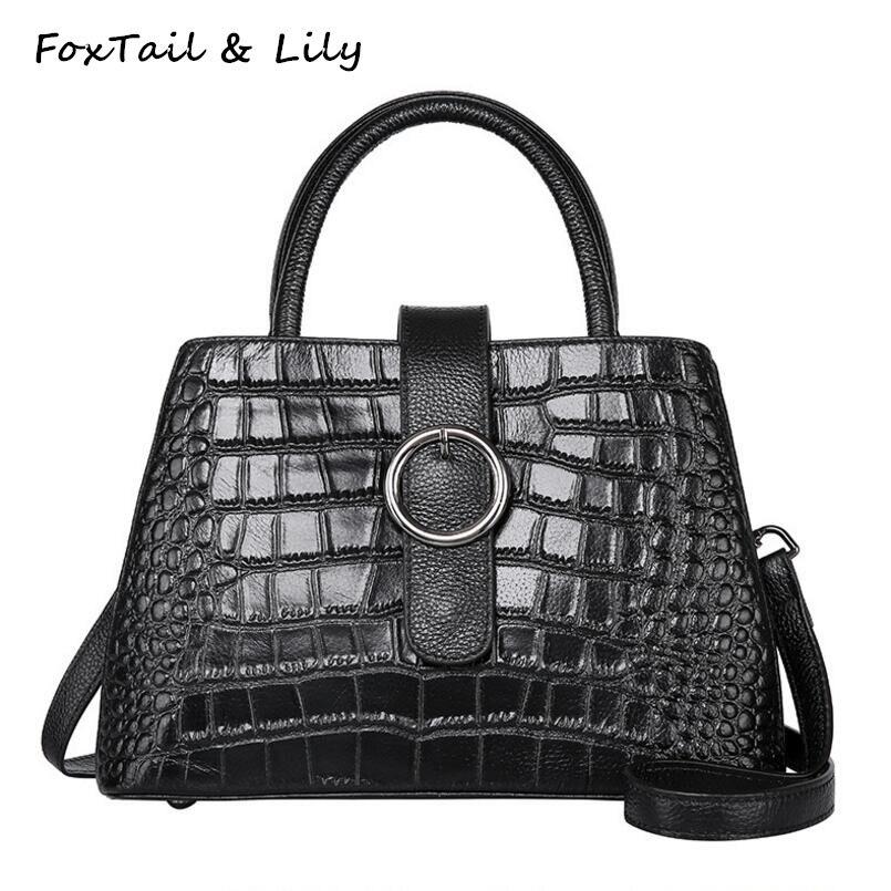 Foxtail & Lily Summer New Crocodile Pattern Genuine Leather Small Shoulder Bag Luxury Handbags Women Bags Designer Crossbody Bag