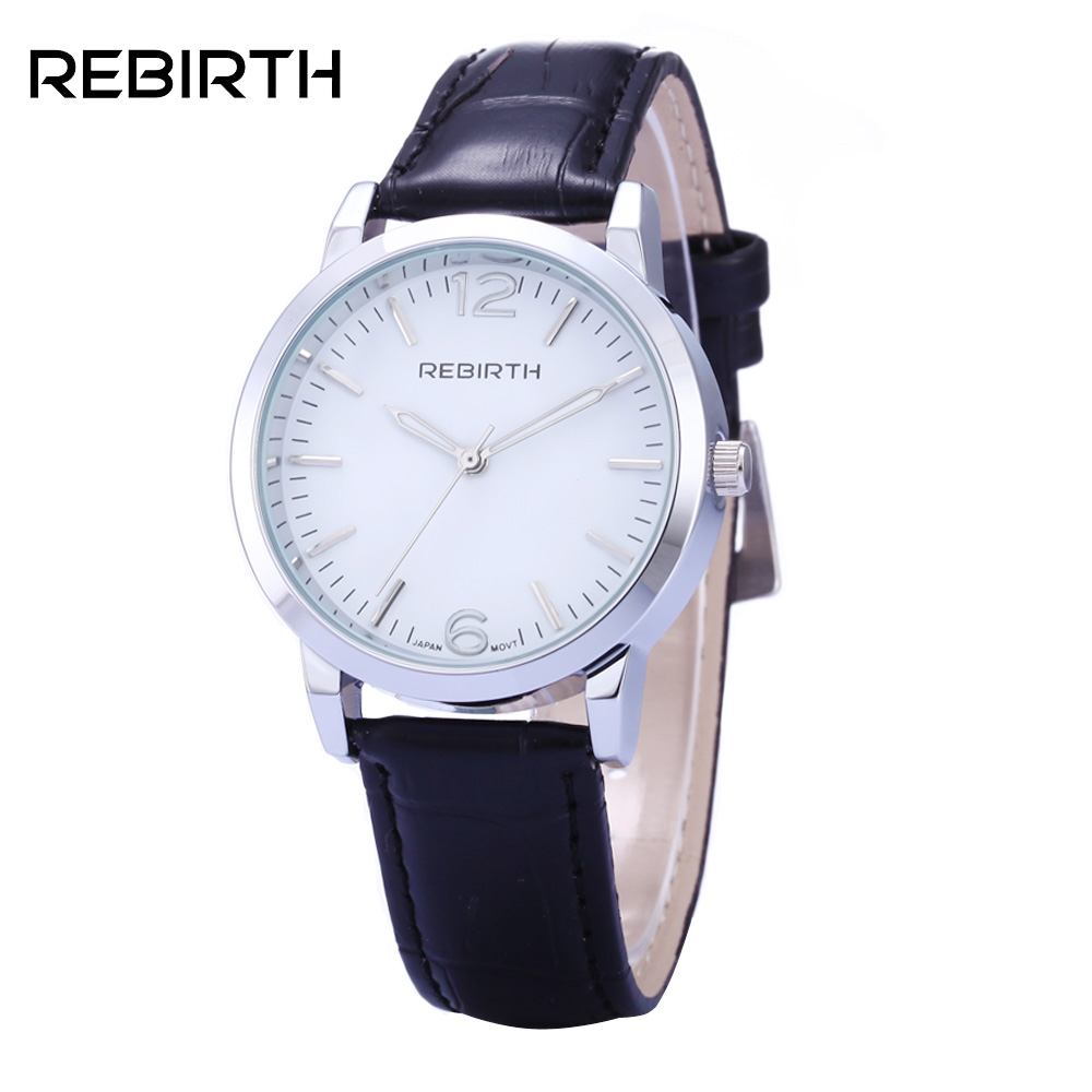 REBIRTH Fashion Brand Womens Watches Casual Ladies Business Leather Watch Simple Waterproof Quartz Wrist watches reloj mujer