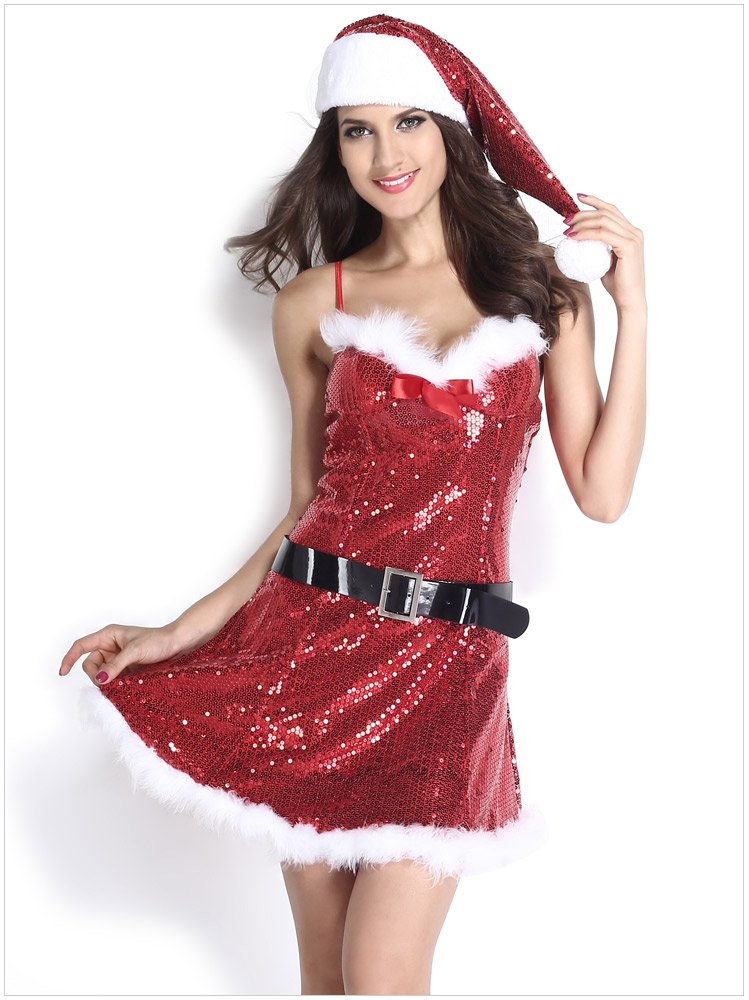 Высококачественное сексуальное женское белье Бисероплетение рождественское мини платье комбинация экзотическая костюмы для косплейной вечеринки одежда с шапкой и поясом