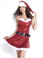 Alta Calidad de la Mujer Lencería Sexy Abalorios Navidad Mini Vestido de La Muñeca Ropa Exótica Trajes de Fiesta Cosplay Con el Sombrero y el Cinturón
