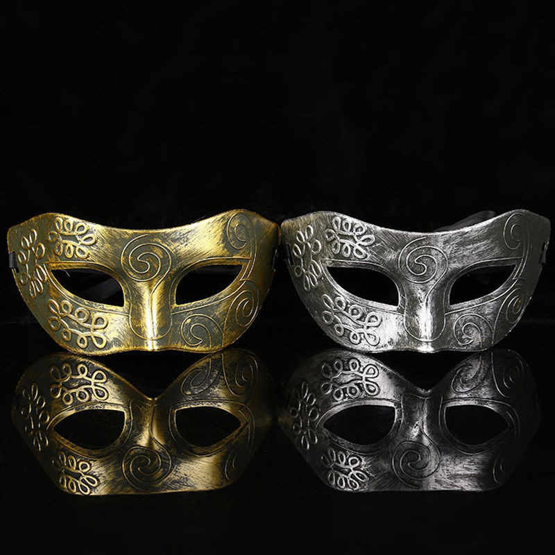 New Handsome of ancient Greek and Roman warriors masquerade Halloween Mask Silver Gold Burnished Antique Ball Mask Dropshipping