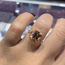 Luxury Female Champagne Stone Ring Fashion AAA Zircon Finger