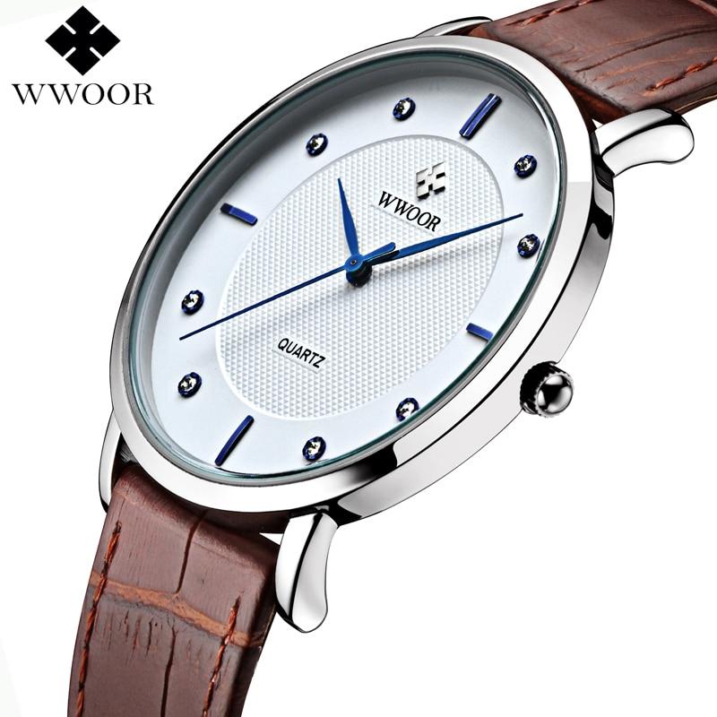 0e85abc3558 WWOOR Homens Relógios Nova Marca de Luxo Ultra Fino Completo Couro Genuíno  Relógio À Prova D  Água Casual Masculino Quartz Relógio de Pulso Caixa  Original ...