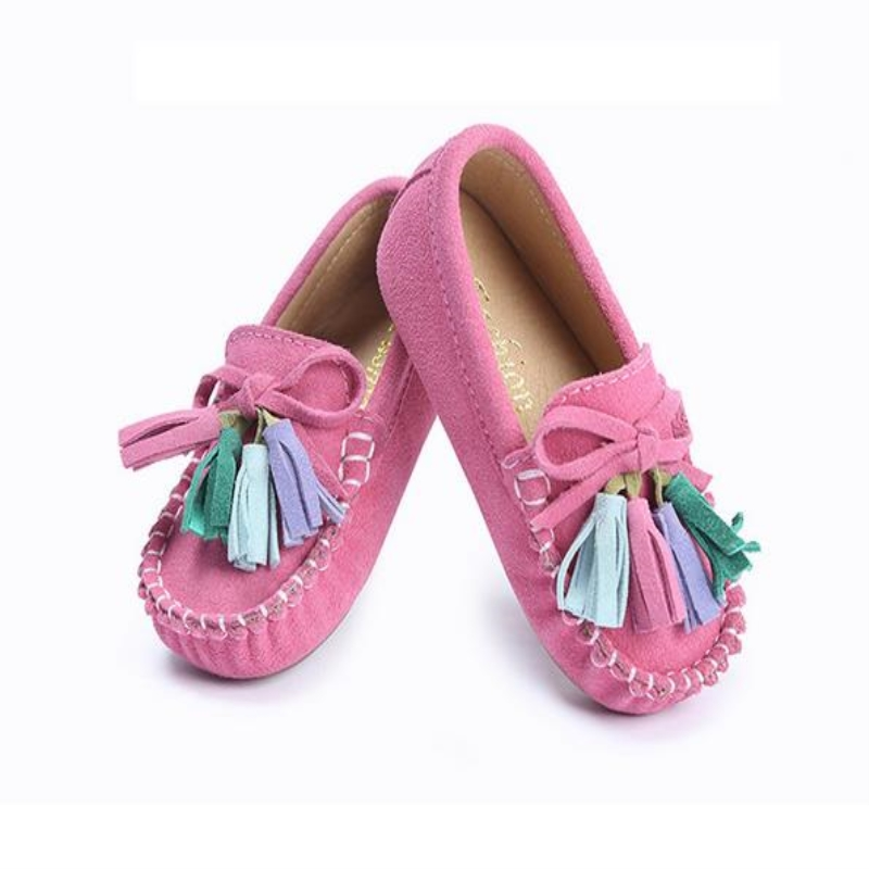 qloblo Child Shoes Flat Tassel Leather Girls Loafers Princess Shoes Kids Baby Toddler Children Leather Shoes