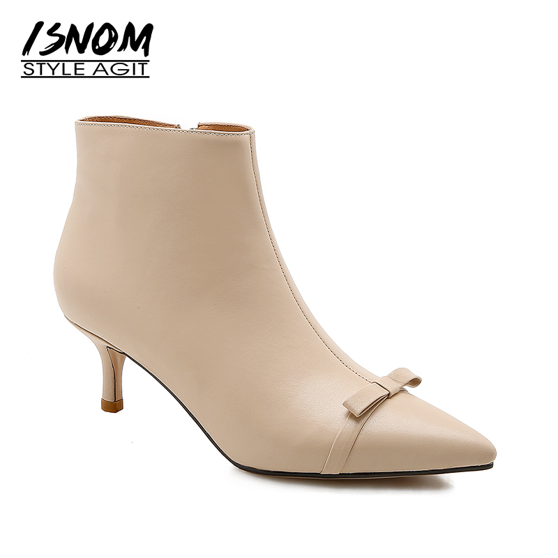 ISNOM Thin High Heels Women Boots Genuine Leather Bootie 2018 Pointed Toe Female Shoes Butterfly Knot Autumn High Neck Footwear hongyi women motorcycle biker ankle boots glossy leather rhinestone crystal ridding bootie bow butterfly knot shoes thick heels