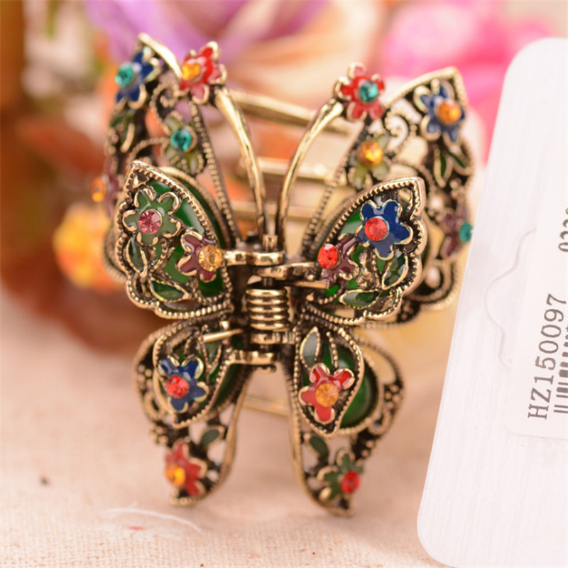 Enamel Colorful Butterfly Hair Claws Gold Color Big Crystal Rhinestone Flowers Hair Clip Crab Jewelry Wedding Accessories 12cm large acrylic studs crystal claws women black hair clip super quality hair claw black white colors girl hair accessories
