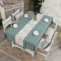 Tassel Linen Tablecloth High Quality Japan Style Embroidery Cotton Linen Dinner Table Cloth For Restaurant Washable