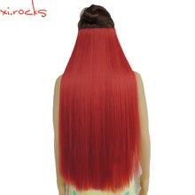 Wjz12070/5 Xi. các loại đá Tổng Hợp Kẹp trong Tóc tóc giả 28inch Chiều Dài Thẳng Bộ Tóc Giả Kẹp Dưa Hấu Đỏ Màu tóc giả