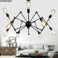 Iron Multiple Ajustable DIY Ceiling Spider Lamp Chandeliers Lighting Modern Chic Industrial Dining Individual style saloon