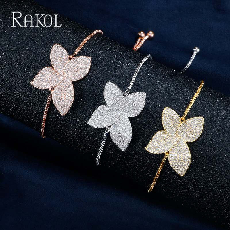 RAKOL Exquisite Gold Color 4 Petal Micro Paved Elegant Chain Bracelets&Bangles For Women Shiny Big Flower Adjustable Braceletes