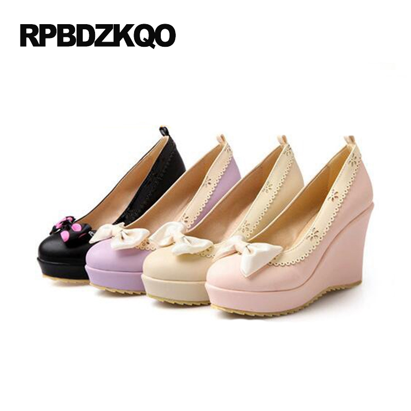 Cute High Heels Women Size 4 34 Beige Pumps Platform Lolita Shoes Japanese Wedge Ankle Strap Purple Round Toe Bow Heart Kawaii t strap round toe women lolita wedge high heel shoes new 2017 side open japanese style wedges with buckle straps free shipping