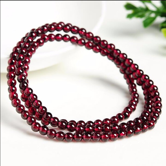 Hot Sale  Natural Wine Red Garnet Smooth 4mm Beads Elastic Line Necklace