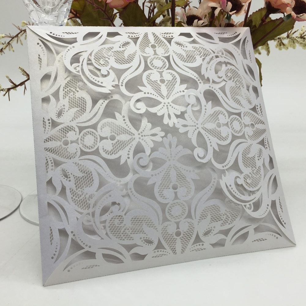10pcs European Laser Cut Wedding Invitation Card Carved Pattern Crafts Wedding Cards Pearlescent Paper Hollow OutParty Supply