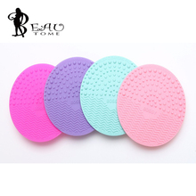Round Makeup brush cleaning pad make up scrubbing glove Silicone design Super maquiagem cleaner brush cleaning tool for beauty