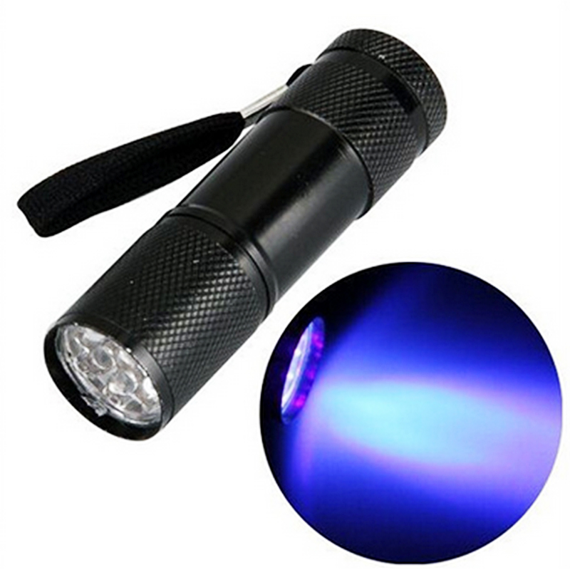 1Pc Mini Aluminum Portable UV Flashlight Violet Light 9 LED UV Torch Light Lamp Flashlight Outdoor Camping Lights P0.05