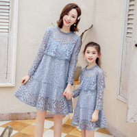 WLG 2019 spring family matching clothes mother and daughter princess dress beige blue lace fashion dress