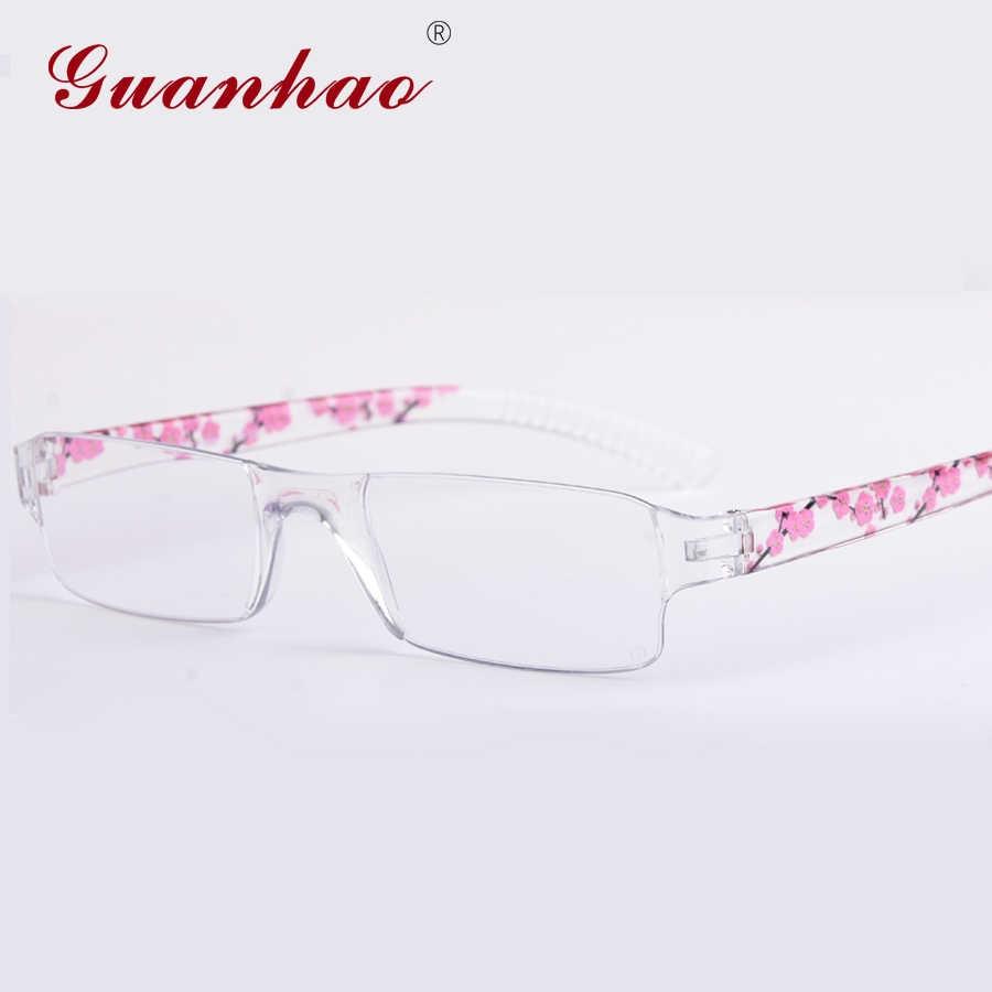 d98620de24 Guanhao Anti Blue Ray Reading Glasses Women Ultralight Rimless Printing  Eyewear HD Resin Computer Hyperopia Glasses