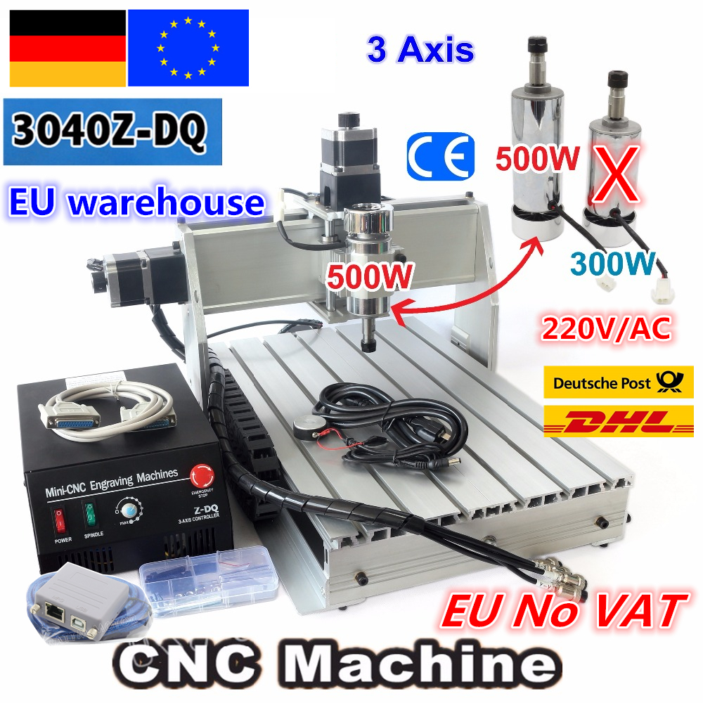 【EU Free VAT】 Desktop 3 Axis USB Mach3 500W 3040Z-DQ Ball Screw 3040 CNC Router ENGRAVER/ENGRAVING Milling Cutting Machine 220V