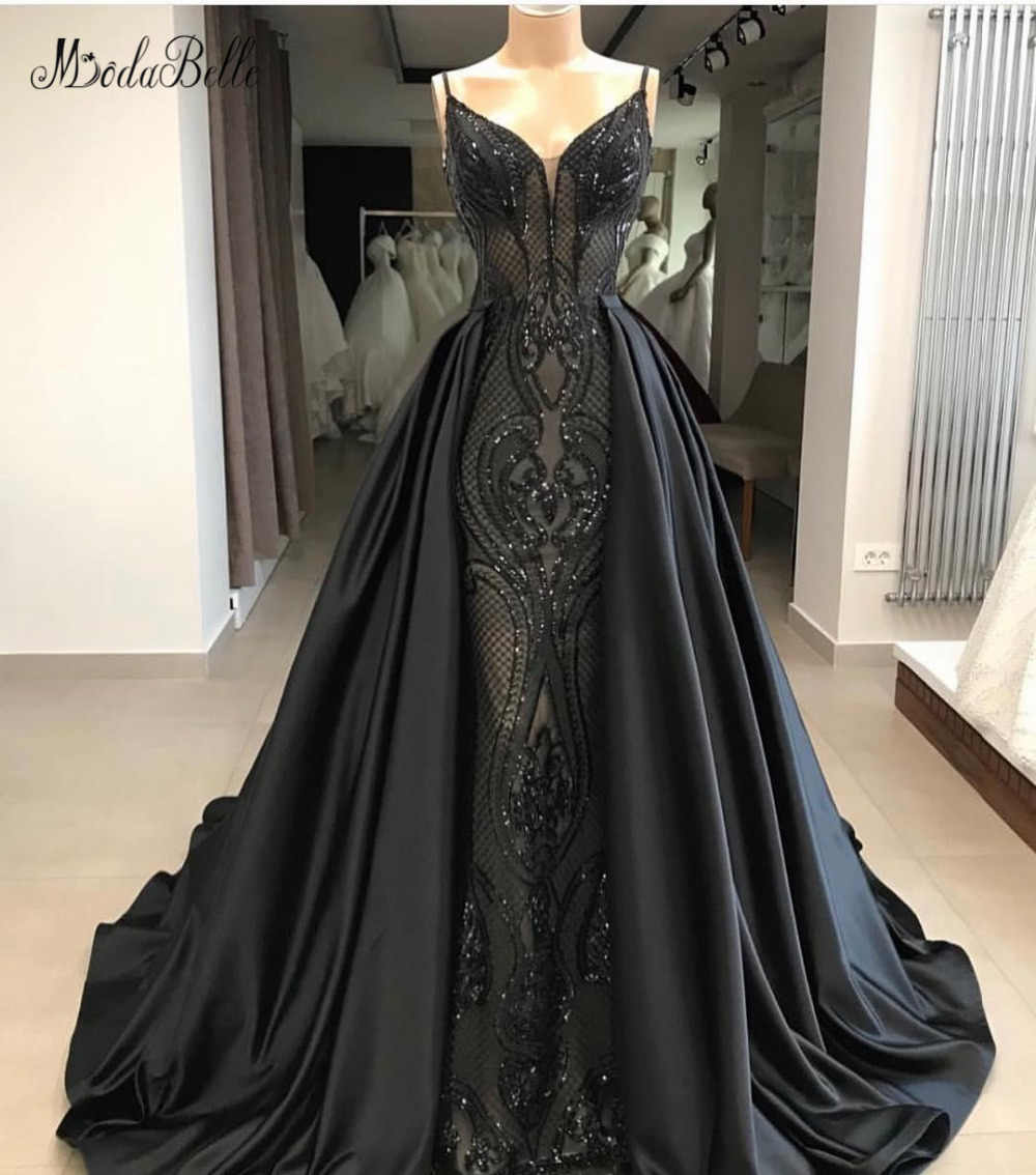 Modabelle/черные вечерние платья трапециевидной формы с блестками из Саудовской Аравии, Длинные вечерние платья со съемной юбкой на бретельках