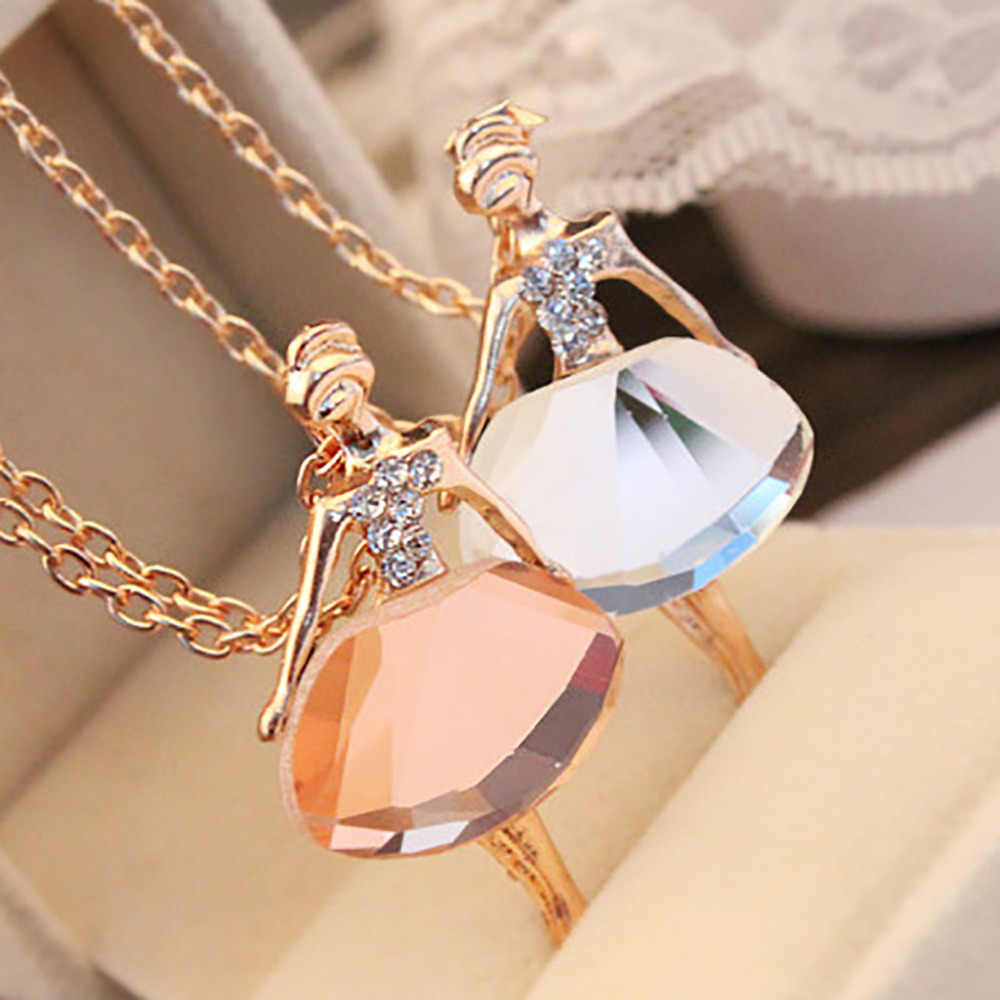 Romantic Jewelry Ballet Girl Necklace Crystal Drill Sweater Chain Jewelries Accessory Necklace Valentine's Gift Necklaces Choker