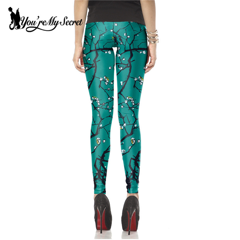 [Youre My Secret] New Fashion Dark Green Leggins Plum Flower Legins Printed Women Leggings Fitness Pant Winter Wholesale