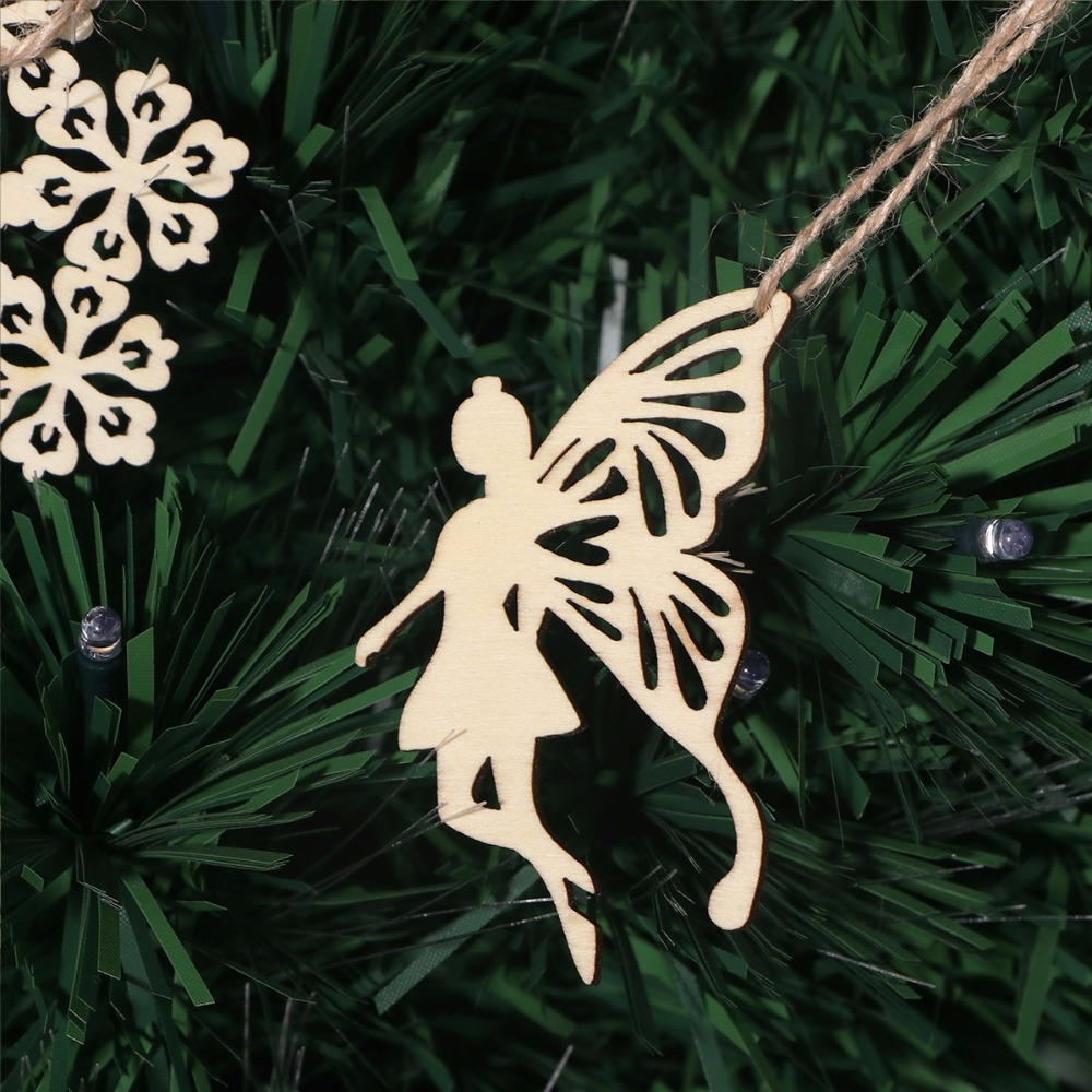 Wooden flying fairy with wand craft blank embellishment