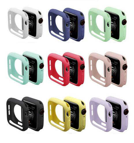 Резиновый чехол для Apple Watch Series 4 3 2 1 защитный чехол для iWatch силиконовый 40 мм 44 мм 38 мм 42 мм бампер