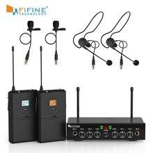 Bezprzewodowy system mikrofonowy, podwójny kanał mikrofonu bezprzewodowego Fifine UHF z 2 zestawami słuchawkowymi i 2 mikrofon przypinany typu lavalier. K038