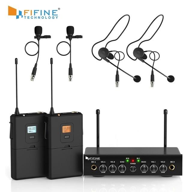 ワイヤレスマイクシステム、 Fifine UHF デュアルチャンネルワイヤレスマイク 2 ヘッドセット & 2 ラペルラベリアマイクロホンで設定。 K038
