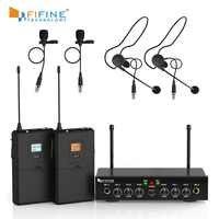 Sistema di Microfoni senza fili, Fifine UHF a Doppio Canale Microfono Senza Fili Set con 2 Cuffie e 2 Risvolto Lavalier Microfono. K038