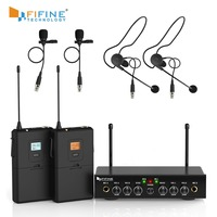 Wireless Microphone System, Fifine UHF Dual Channel Wireless Microphone Set with 2 Headsets & 2 Lapel Lavalier Microphone. K038