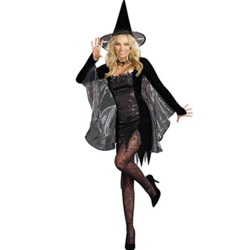 Velvet Hat Sequin and Organza Brim Long Sleeves Witch Girls Halloween Witch Costume Fantasy Dress Party Cosplay Costume L1067  L1067 (8) 800x800