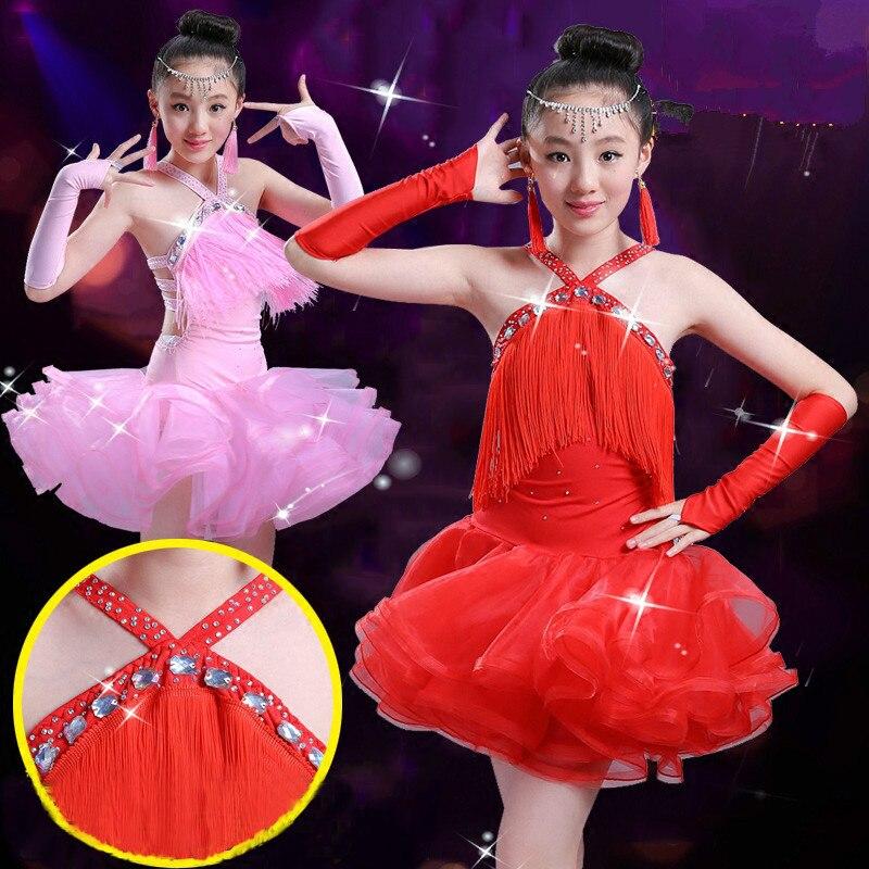 Robe de danse latine pour enfants paillettes gland Grils moderne robe de danse de salon frange Costumes de danse latine justaucorps de gymnastique