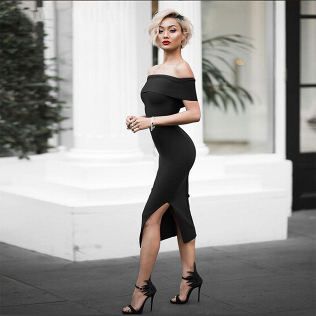 New Sexy Bandage Dress White Black Nude Red Off The Shoulder Split Bodycon Evening Party Dresses Women Summer Dress Club