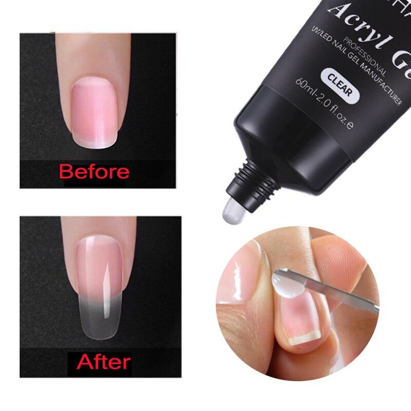 MSHARE 60ml Polygel <font><b>Nails</b></font> Acrylgel Poly Acryl <font><b>Nail</b></font> Extension Quick Building UV Builder Gel Tips Slip Solution Liquid Brush Set
