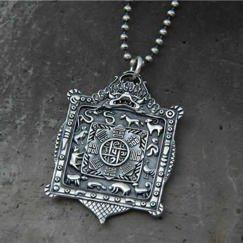 925 Silver Nine Direction Eight Symbols Amulet Sterling Silver Tibetan Direction-Symbol Pendant Necklace Buddhist Vajra Pendant 925 sterling silver jewelry necklace pendant retro evil vajra pestle jiangmo avoid evil spirits musical instruments