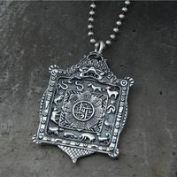 925 Silver Nine Direction Eight Symbols Amulet Sterling Silver Tibetan Direction Symbol Pendant Necklace Buddhist Vajra Pendant