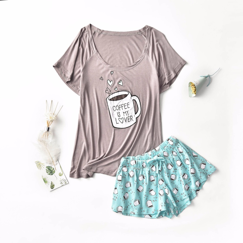 Women's   pajamas     sets   with sweet coffee cups hearts printed grey pink color causal   pajama     sets   fashion softy   pajamas   for ladies