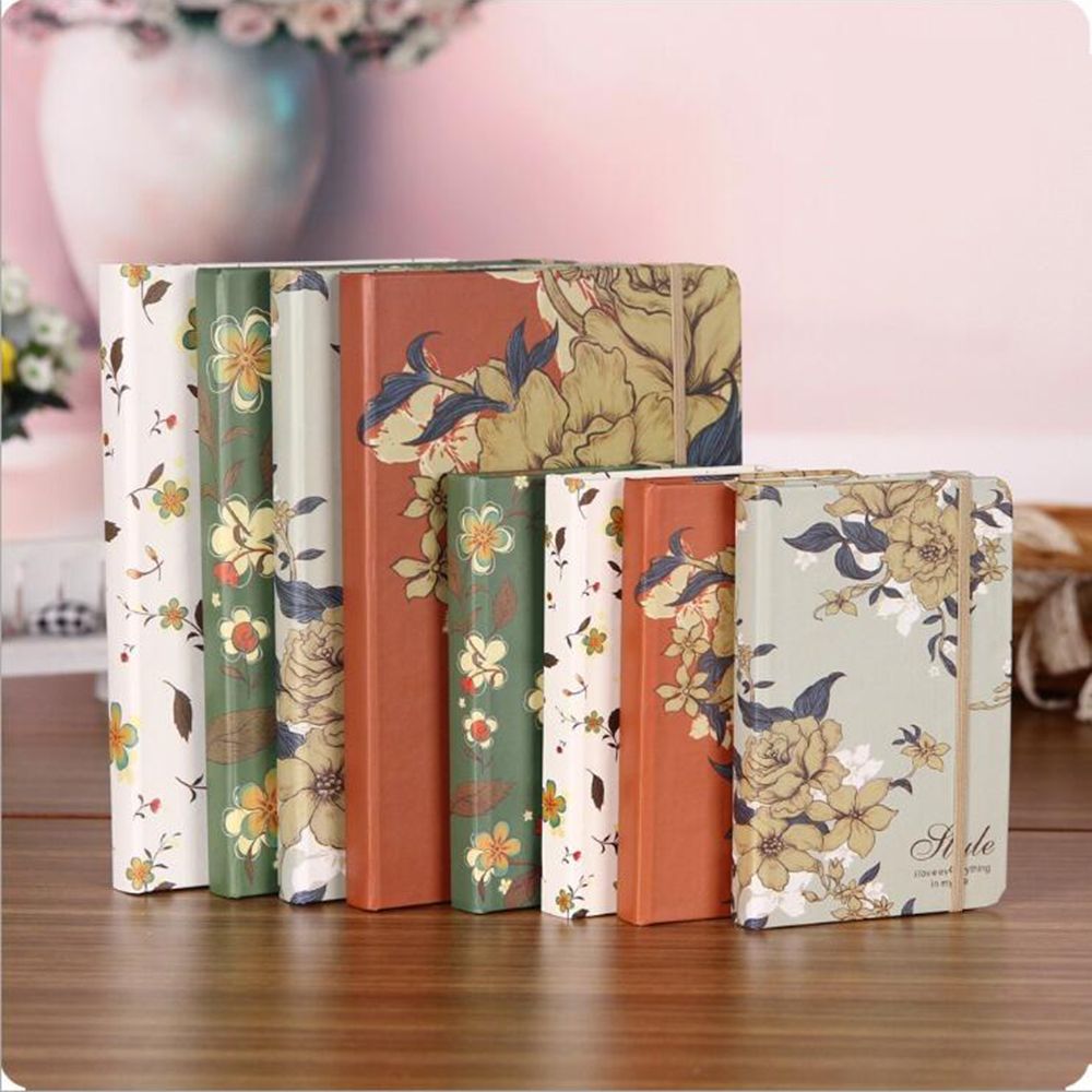Flower Hardcover Vintage Notebook Creative Elegant Line Business Planner Organizer Office School Stationery Student Noted Diary