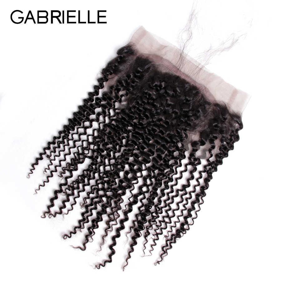 Габриэль Малайзийский странный вьющиеся 360 Кружева Фронтальная застежка с волосами младенца естественно волосяного покрова свободная часть номера для человеческих волос 8 -22 дюймов