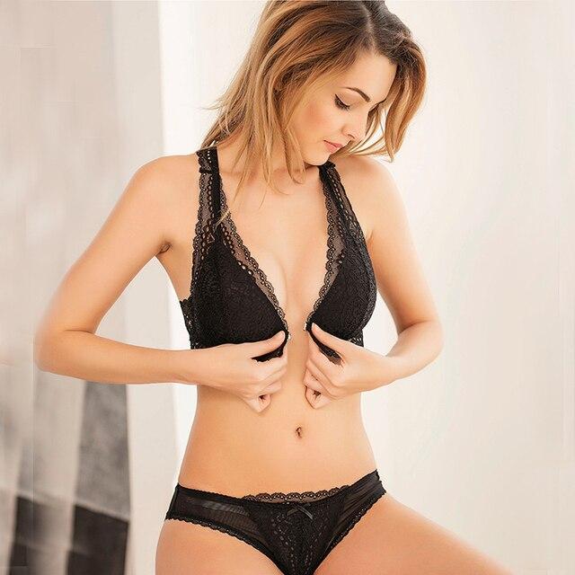 62acd6f05fd03 Promotion Hot Sexy Lace Bra Wireless Open Bras Set Women Front Button  Embroidery Plus Size Underwear