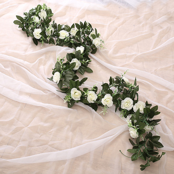 Jedwab sztuczny różowa winorośli wiszące kwiaty do dekoracji ścian rattan sztuczne rośliny liście garland romantyczny ślub dekoracja domu tanie i dobre opinie Ślub TH251 Róża Jedwabiu Kwiat Ciąg Sztuczne Kwiaty white pink yellow champagne green 220cm 86 61inch Wedding Home Party Decoration