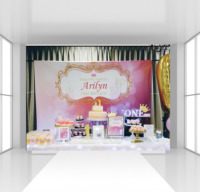 HUAYI Custom Birthday backdrop cake table decor photophone photography background pink Princess girl 1st birthday backdrop CZ05