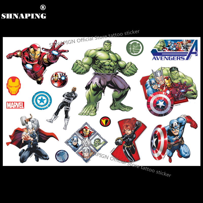 SHNAPIGN Top Quality Movie Superheros Union Child Flash Tattoo Sticker 17*10cm Waterproof Temporary Tatoo Kids Captain America