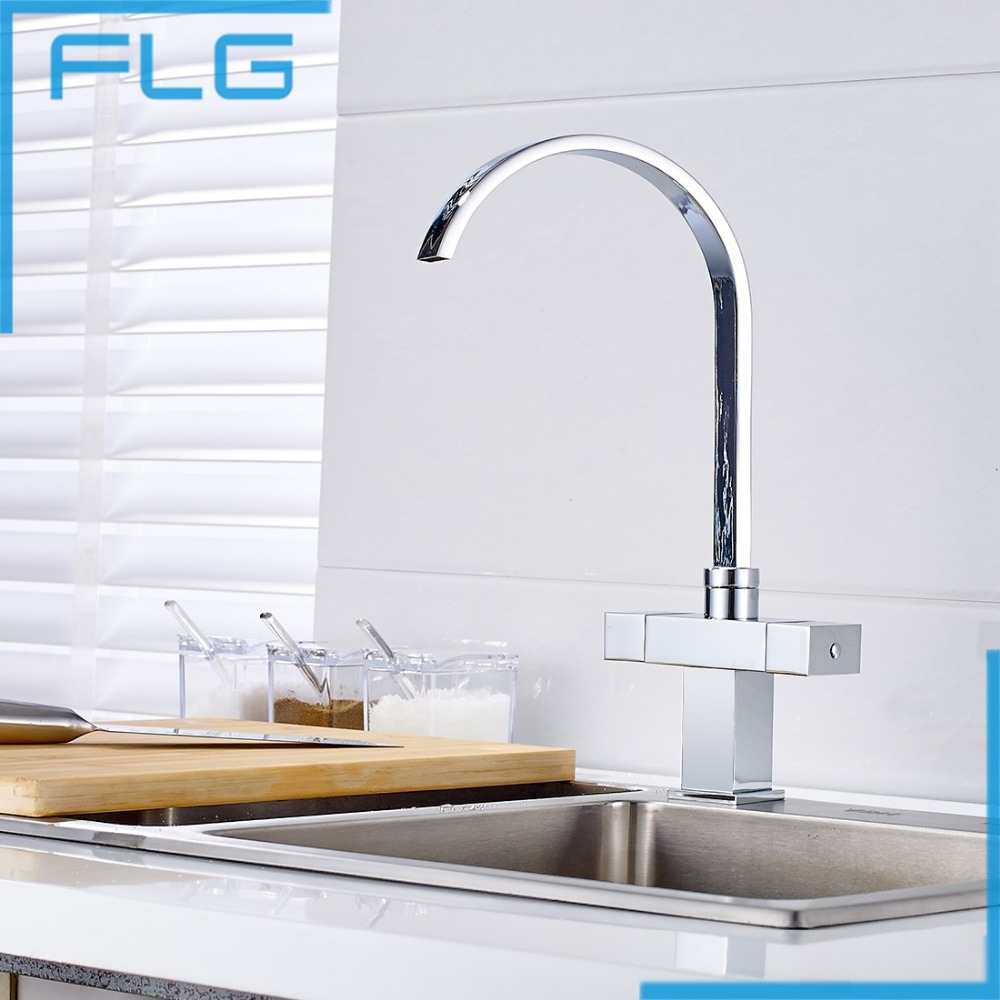 Solid Brass Chrome Deck Mounted Kitchen Tap Dual Handle Kitchen Mixer Kitchen Faucet torneira cozinha